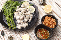 Ostrygowa owoce morza cytryna świeży Asia smażył szalotka kumberland Obrazy Stock