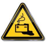 Ostrzega baterię, porażenie prądem i bateryjnego kwas, ilustracji