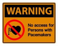 Ostrzegający Żadny dostęp Dla Persons Z Pacemaker symbolu znakiem Odizolowywa Na Białym tle, Wektorowa ilustracja ilustracji