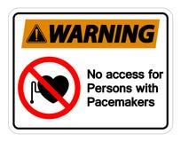 Ostrzegający Żadny dostęp Dla Persons Z Pacemaker symbolu znakiem Odizolowywa Na Białym tle, Wektorowa ilustracja ilustracja wektor