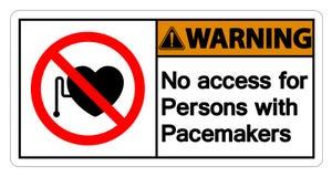 Ostrzegający Żadny dostęp Dla Persons Z Pacemaker symbolu znakiem Odizolowywa Na Białym tle, Wektorowa ilustracja royalty ilustracja