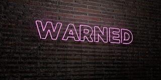 OSTRZEGAJĄCY - Realistyczny Neonowy znak na ściana z cegieł tle - 3D odpłacający się królewskość bezpłatny akcyjny wizerunek ilustracji