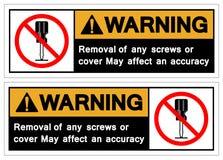 Ostrzegający Usuwa jakaś śruby lub pokrywa może wpływać accruacy symbolu znaka, Wektorowa ilustracja, Odizolowywająca Na Białej t ilustracji