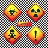 Ostrzegawcze etykietki - biohazard, napromienianie, jad, Dan ilustracji