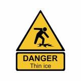 Ostrzegawczego cienkiego lodu znaka wektorowy projekt Obraz Stock