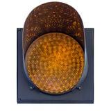 Ostrzegawczy światło iluminuje w kolorze żółtym Czerep drogowy znak odizolowywający na białym tle zdjęcia royalty free