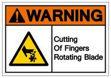 Ostrzegawczy rozcięcie Wiruje ostrze symbolu znaka palce, Wektorowa ilustracja, Odizolowywa Na Białej tło etykietce EPS10 royalty ilustracja