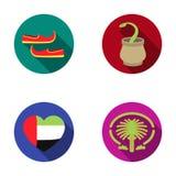Ostschuhe, Dolch, das Herz der Emirate, Palme Jumeirah Arabische Emirate stellten Sammlungsikonen im flachen Artvektor ein Stockfotos