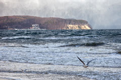Ostsee in einem Blizzard Stockfoto