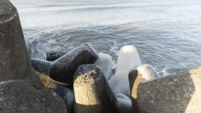 Ostseeseitenstrandpier lizenzfreies stockbild