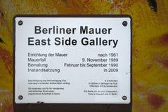 Ostseiten-Galerie-Zeichen Lizenzfreie Stockbilder
