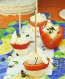 Oststeknålar med tomater Arkivbilder