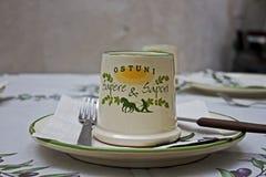 Ostuni. Table in a Trattoria in Ostuni, Apulia, Italy Royalty Free Stock Image