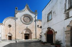 Scenic view of the medieval roman catholic cathedral in the old town of Ostuni, Italy royalty free stock images