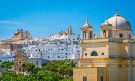 Scenic summer view in Ostuni, province of Brindisi, Apulia, Italy. Ostuni is a city and comune, located about 8 km from the coast, in the province of Brindisi stock photography