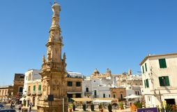 OSTUNI, ITALY - JULY 31, 2017: Main square wtih Saint Oronzo`s c royalty free stock image