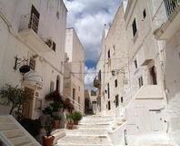 Ostuni village. A corner in Ostuni, a whitewashed village in Apulia, Italy stock photo