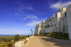 Ostuni,the withe city.Town wall:panoramic view of the Valle d'Itria.-ITALY(Apulia)- Stock Photo
