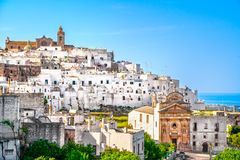 Ostuni white town skyline, Brindisi, Apulia, Italy. royalty free stock photography