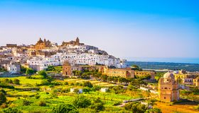 Ostuni white town skyline and church, Brindisi, Apulia, Italy. Stock Images