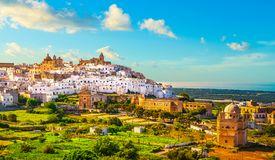 Ostuni white town skyline and church, Brindisi, Apulia, Italy stock images