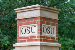 OSU Lettering on Column at Oklahoma State University Stock Photos