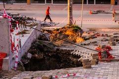 Osunięcie się ziemi Na budowa terenie Fotografia Royalty Free