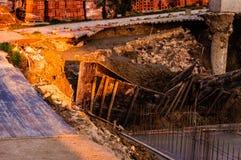 Osunięcie się ziemi Na budowa terenie Zdjęcia Royalty Free