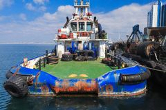 OSV boat, offshore supply vessel stand moored stock image