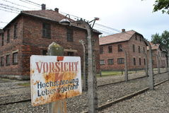 Osvietim Auschwitz concentration camp. German nazi concentration camps of II. World War in Poland for exterminate the Jews. Historical buildings, fences and stock photography