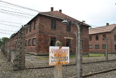 Osvietim Auschwitz concentration camp. German nazi concentration camps of II. World War in Poland for exterminate the Jews. Historical buildings, fences and royalty free stock photos