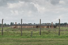 Oswiecim, August 23nd 2017: Barak at the Auschwitz Birkenau II C. Amp. The place used by the german SS during the second world war Royalty Free Stock Photos