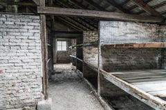 Oswiecim, August 23nd 2017: Interior of barak at the Auschwitz B. Irkenau II Camp. The place used by the german SS during the second world war Stock Photos