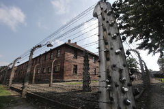 Oswiecim, Poland Auschwitz area. Oswiecim, Poland Auschwitz - 4.9.2014 - electric fence around camp Royalty Free Stock Photo