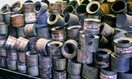 Oswiecim / Poland - 02.15.2018: Empty cans. Oswiecim / Poland - 02.15.2018: Exhibition of empty cans of zyklon gas poison that have been used to exterminate Royalty Free Stock Image