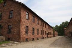 OSWIECIM Polen - Maj 09, 2015: Byggnader i tidigare nazistkoncentrationsläger Royaltyfri Fotografi