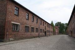 OSWIECIM Polen - Maj 09, 2015: Byggnader i tidigare nazistkoncentrationsläger Royaltyfria Foton