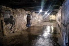 Oswiecim/Polonia - 02 15 2018: Sótano oscuro con las paredes raspadas imagen de archivo