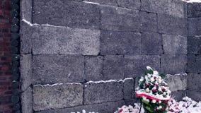 OSWIENCIM、波兰- 1月, 14, 2017在雪的花圈在黑色附近或死亡墙壁在奥斯威辛比克瑙,德国纳粹 免版税库存照片