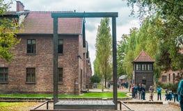 Oswiencim,波兰- 2019年9月21日:施行平台在哪里垂悬了1947年吕多尔夫霍斯,司令员  免版税库存照片