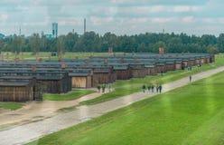 Oswiencim Polska, Wrzesień, - 21, 2019: Birkenau koncentracyjny obóz Śmierć koszaruje Żydowska eksterminacja obozu historia fotografia royalty free