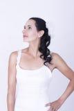 Oszałamiająco brunetki panny młodej odzieży Kwiecista Ślubna toga Zdjęcia Stock
