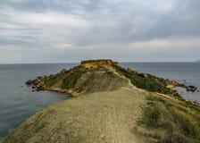 Oszałamiająco krajobraz Maltańska natura Qarraba między Gnejna zatoki i Ghajn tuffieha zatoką Riviera, Ta Lippija, Mgarr, Malta zdjęcia royalty free