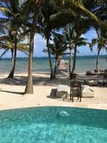 Oszałamiająco kurortu widok na Ambrowym Caye Belize obraz stock