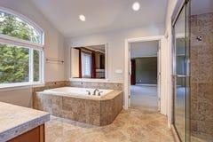 Oszałamiająco mistrzowska łazienka z luksusową zdrój balią zdjęcie stock