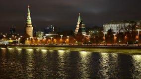 Oszałamiająco noc widok Kremlin w zimie, Moskwa, Rosja zdjęcie wideo