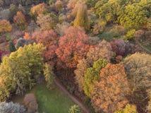 Oszałamiająco powietrzny trutnia krajobrazu wizerunek oszałamiająco kolorowego wibrującego jesień spadku wsi Angielski krajobraz obrazy stock