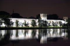 Oszałamiająco widok Novodevichy klasztor w wieczór, Obrazy Royalty Free