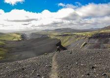 Oszałamiająco widok wielka szczelina Eldgja powulkaniczny jar w pogodnej pogodzie zdjęcie stock