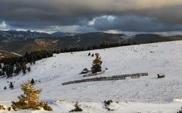 Oszałamiająco wysokogórski krajobraz z sheepfold stockyard, Transylvania fotografia royalty free
